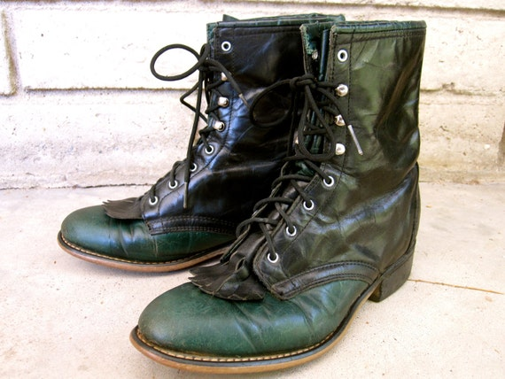Black and Forest Green Laredo Roper Boots- Bold and Unique Cowboy Combat Boot Style- size 7.5