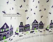 th005B/P - 1 Yard Japanese Cotton Linen Fabric - Bremen Musicians - Purple (W110)