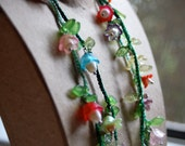 Crocheted Flower Garland Necklace in Little Girl Fairytale Colors With Freshwater Pearl Centers