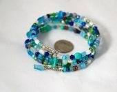 Seaglass Cuff Bracelet: Ocean Mysteries Wrap Bracelet in SIlver
