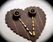 Black & Gold Bobby Pin Set: Vintage Czech Glass Button Bobbypins