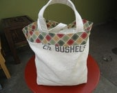 Market Tote made from a vintage seed sack