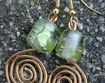 Copper Wire Twist and Green Glass Bead Earrings
