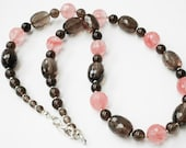 Smoky Quartz Pink Quartz Gemstone, Beaded Necklace Dangle Earring Matching Set, Pink Brown Gemstone Necklace, Jewelry Set