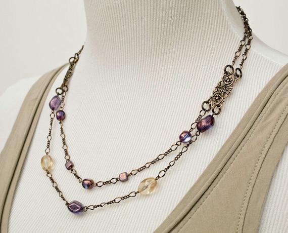 Purple Golden Double Strand Brass Necklace Vintage Style