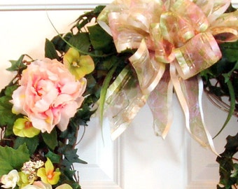 Pink Peonies Nestled in Ivy Wreath