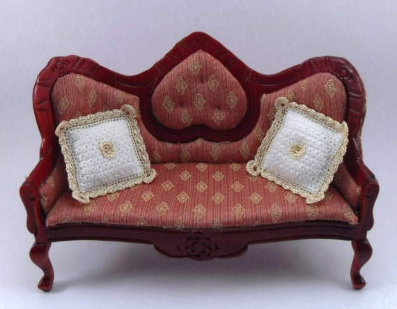 Dollhouse Miniature Pillows Cushions, 1:12 scale Crocheted with White Soft Cotton Yarn and Gold Thread Trim