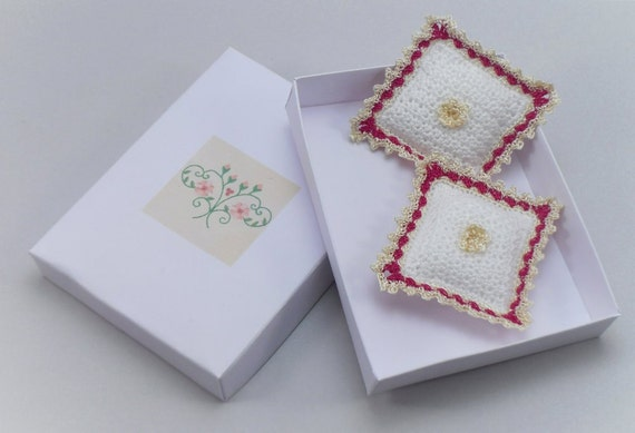 Dollhouse Miniature Pillows Cushions, 1:12 scale Crocheted with White Soft Cotton Yarn and Cerise and Gold Thread Trim