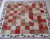 Appliqued Quilt in Moda Reds