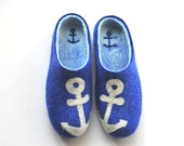 Men's felted slippers - blue - white - anchor