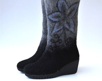 Felted boots black and grey  from natural softest merino wool with rubber soles