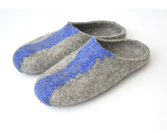 Felted slippers from natural ecofriendly wool - grey - slide back slipper