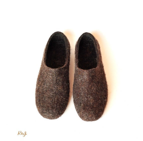 Eco friendly natural brown colour handmade felted slippers