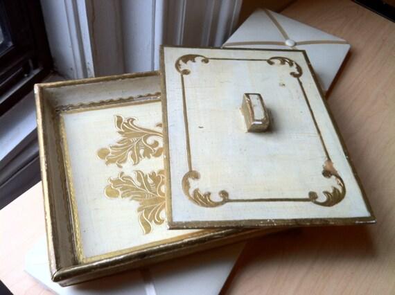 RESERVED TERRI Vintage Gilded Letter Tray