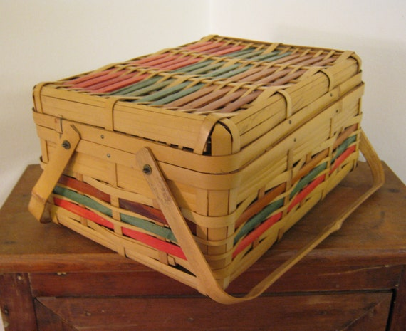 SALE Bamboo Sewing Basket with Handles