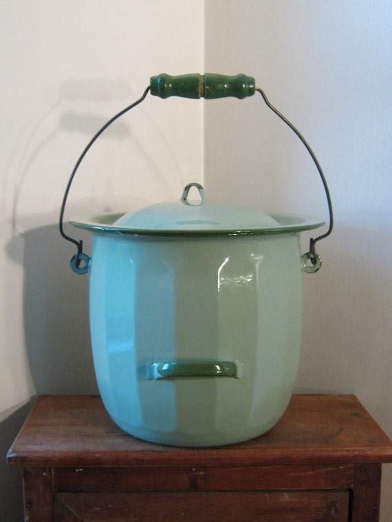 Green Enamel Chamber Pot / Slop Bucket