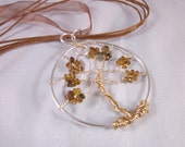 Petro Tourmaline Sterling Silver and Gold Filled Tree of Life Pendant