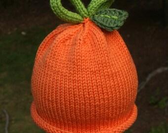 Knit Pumpkin Hat, Newborn Size - Ready to ship!