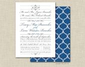 Wedding invitation and response card -- elegant playbill, diy print-your-own digital file