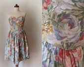 Vintage 1990's Floral Strapless Dress with Petticoat Size S