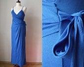 Blue Maxi Dress - Vintage 1970's Disco Era Size S