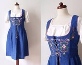 Vintage Dirndl Dress - Blue 1970's Dirndl with Embroideries - German Dirndl - Size L-XL