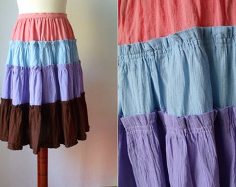 Vintage 1980's Colour Block Skirt Size S
