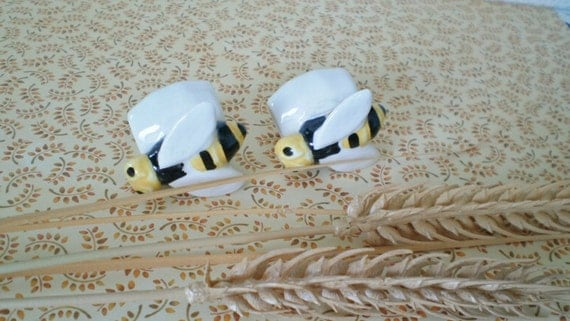 Glazed Ceramic Macrame Beads-2 Bumble Bee Shaped-Handcrafted-A6