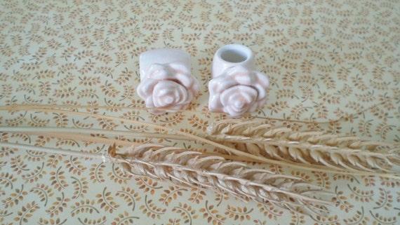 Glazed Ceramic Macrame Beads-4 Peach Rose Shaped-Handcrafted-F1