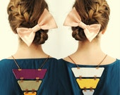 Reversible, Color block, triangle necklace, geometric, breast plate, statement necklace, bib