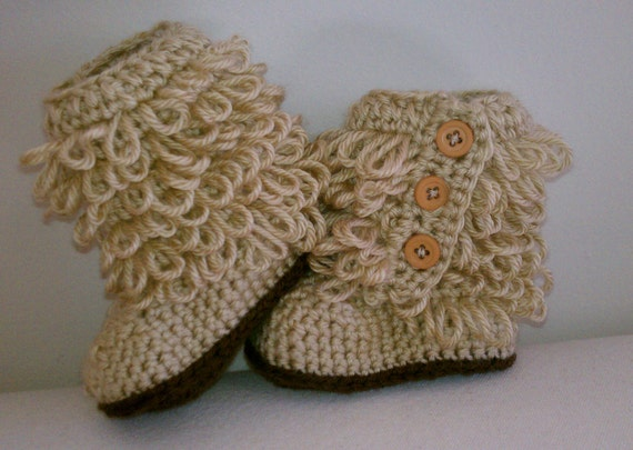 Crochet Baby Ugg Inspired Boots Booties Tan Fall Winter Baby