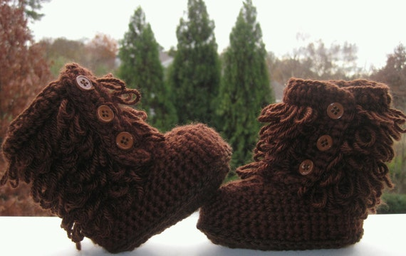 crochet ugg inspired baby boots chocolate brown fall winter baby booties slippers furry boots more colors