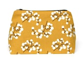 Mustard Large Zipper Travel Bag with White Vine Floral Print - Maid of Honor / Bridesmaid Gift, Birthday Gift, Holiday Gift for Her