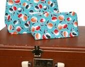 Aqua Blue Retro Travel Bag Set / Gift Set in Colorful Floral Cotton Print - Graduation Gift Idea for Her