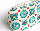 Turquoise Cosmetic Bag / Make Up Bag in Vintage Folk Russian Floral Print - Unique Birthday Gift, Bridesmaid Gift, Handmade Ready to Ship