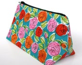 Cosmetic Bag in Colorful Rose Sketch Cotton - Bridesmaid gift, birthday gift, gift for teen, Valentine's Day Gift for Her Clutch