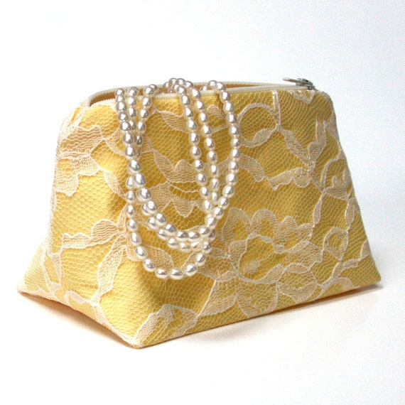 Bridesmaid Gift in Yellow and Ivory Lace - Clutch, Makeup Bag, Cosmetic Bag, Yellow Wedding, Spring Wedding
