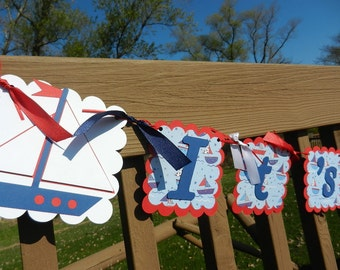 It's a Boy Nautical Sailboat Baby Shower Banner with Anchors