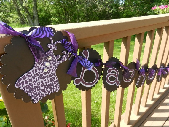 Bachelorette Wedding Shower Bridal Party Bride to Be Corsette banner Black & Purple Zebra