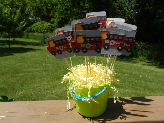 Fire truck table decorations set of by six on etsy
