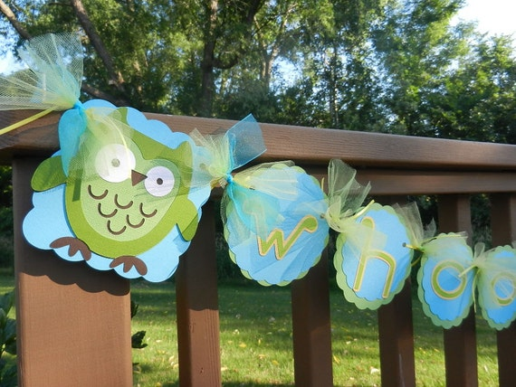 Gender Neutral Baby Shower Banner Owls and Trees--Whoo's In There