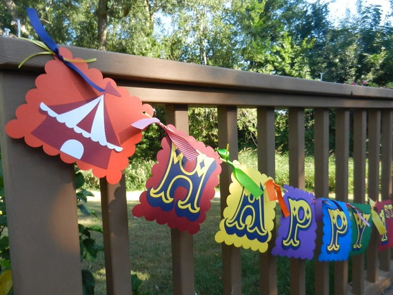 Circus Carnival  Theme Birthday Banner Including Age