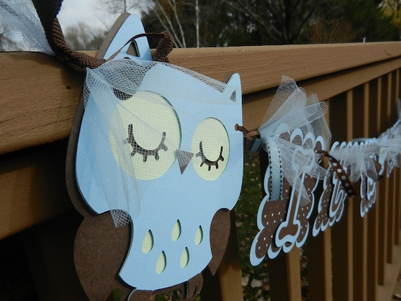 Baby Shower It's A Boy Banner Owl