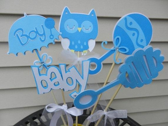 Baby Shower Table Decoration Centerpiece Owl Soft Blues
