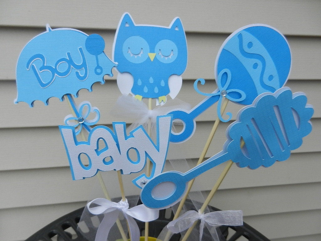 Baby shower table decoration centerpiece owl soft blues for Baby boy decoration