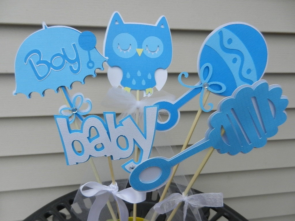 Baby shower table decoration centerpiece owl soft by table4six for Baby decoration for baby shower