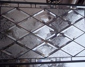 Daryn Sirota • Custom Stained Glass Window Antique Beveled Restored with custom glue chipped bevels for privacy
