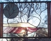 Stained Glass Window Panel  two trees with mountain river personalized