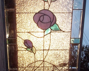 Stained Glass Window Panel leaded window rose