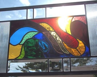 Stained Glass Rainbow Beveled Window panel